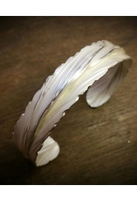 Folded Silver Feather Cuff Bangle