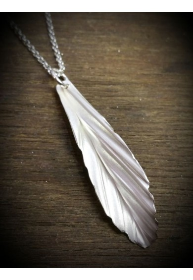 Folded Silver Feather Pendant