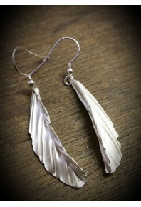 Folded Silver Feather Earrings