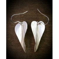Folded Silver Angel Wings Earrings