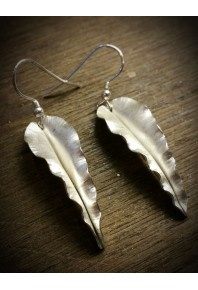 Folded Silver Autumn Leaf Earrings