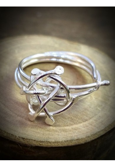 Venus-2 Silver Sphere Triple Band Ring