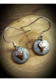 Plannished Hearts Silver Oxidised Drop Earrings with Red Gold