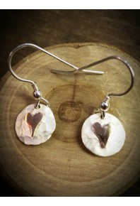 Plannished Hearts Silver Drop Earrings with Red Gold
