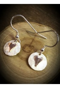 Plannished Hearts Silver Drop Earrings with Silver Heart