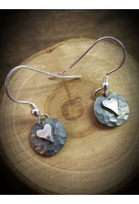 Plannished Hearts Silver Oxidised Drop Earrings with Silver Heart