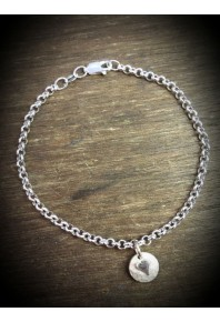 Plannished Hearts Silver Bracelet with Silver Heart