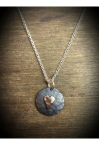 Plannished Hearts Silver Oxidised Pendant with Red Gold