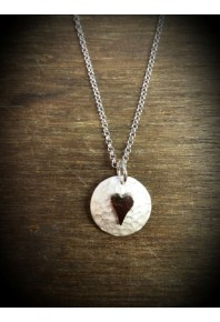 Plannished Hearts Silver Pendant with Red Gold