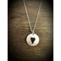 Plannished Hearts Silver Pendant with Silver Heart
