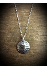 Plannished Hearts Silver Oxidised Pendant with Silver Heart