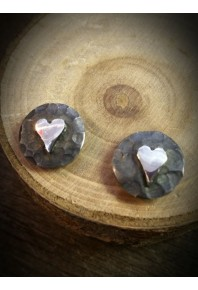 Plannished Hearts Silver Oxidised Stud Earrings with Silver Heart