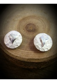 Plannished Hearts Silver Stud Earrings with Silver Heart