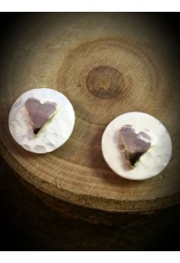 Plannished Hearts Silver Stud Earrings with Red Gold