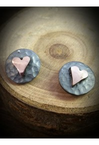 Plannished Hearts Silver Oxidised Stud Earrings with Red Gold