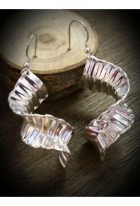 Ocean Silver Wave Twisted Earrings