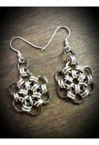 Oxi-Daisy Silver Large Drop Earrings