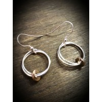Fallon Silver Drop Earrings with Red Gold Disc