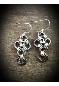 Oxi-Daisy Silver Small Drop Earrings