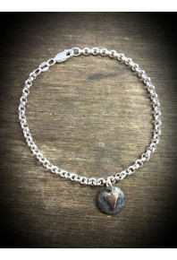 Plannished Hearts Silver Oxidised Bracelet with Silver Heart