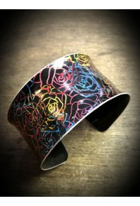 Rose Aluminium Black Cuff Bangle