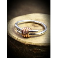 Rebeus Silver Ring with Red Gold Wire