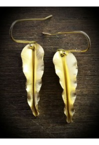 Folded 18ct Gold Autumn Leaf Earrings
