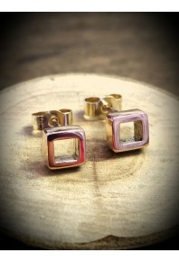 Quadra Red Gold Studs