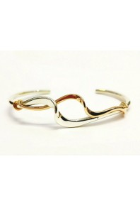 Torque Silver Double Twisted Cuff Bangle + Yellow Gold