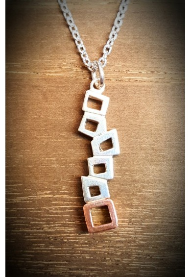 Quadra Silver Multi Block Pendant