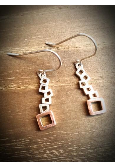 Quadra Silver Multi Block Drops Earrings