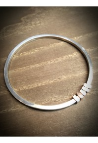 Quadra Silver Bangle with 5 Block