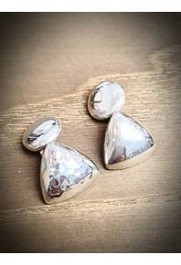 Cuff Links - Silver Texture Triangle Button