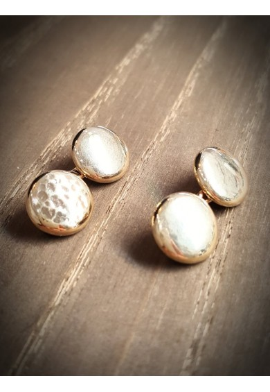 Cuff Links - Texture 9ct Rose Gold Round Button