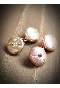 Cuff Links - 9ct Rose Gold Round Button with Ruby