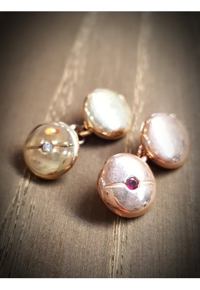 Cuff Links - 9ct Rose Gold Round Button with Daimond