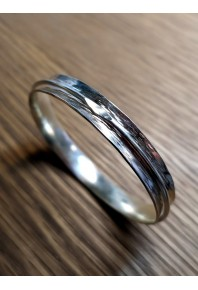Monet Silver Concave Bangle With Wire