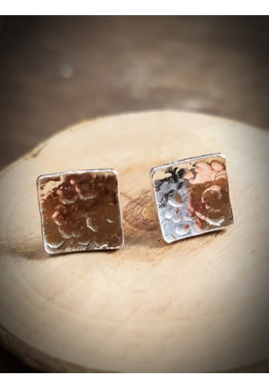 Nexus Silver Square Stud Earrings