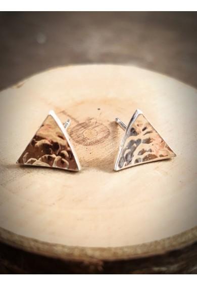 Nexus Silver Triangle Stud Earrings