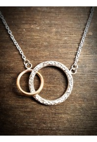 Nexus Silver Twin Circle and Rose Gold Pendant