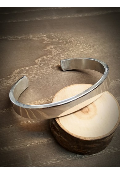 12.5mm Wide Flat Silver Polish Cuff Bangle