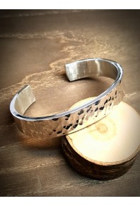 12.5mm Wide Flat Silver Texture Cuff Bangle