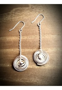 """Q"" Silver Medium Drop Earrings"