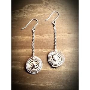 """""""Q"""" Silver Medium Drop Earrings"""