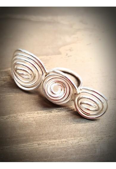 """""""Q"""" Silver Triple Ring"""