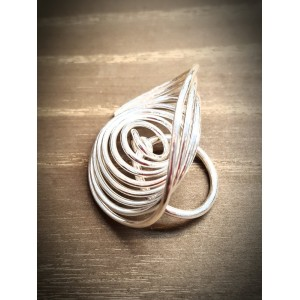 """Q"" Silver Wave Q Ring"