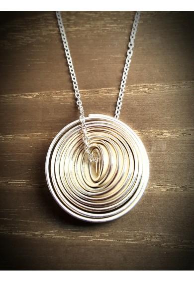 """Q"" Silver Heavy Single Large Pendant"
