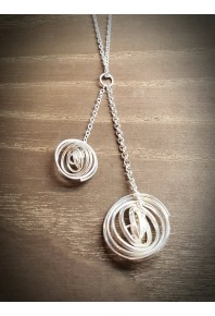 """""""Q"""" Silver 2 Q Necklace with 32"""" Silver Chain"""