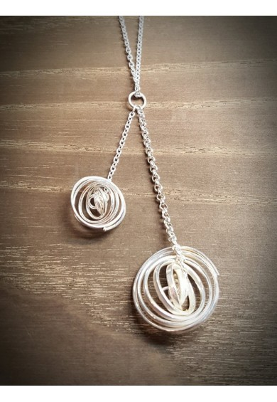 """Q"" Silver 2 Q Necklace with 18"" Silver Chain"