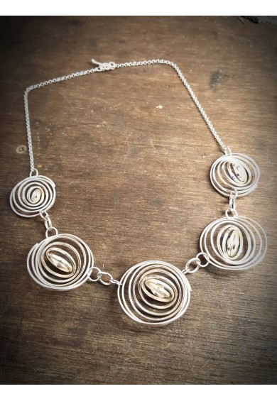 """Q"" Silver 5 Q Necklace"
